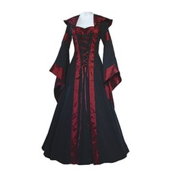 Wholesale Victorian Gowns - Medieval Dress New Women Vintage Style Gothic Dress Costume Pirate Ball Gown Peasant Wench Victorian