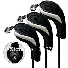 Wholesale hybrid steel - 3pcs Set Golf Accessories Golf Headcover Andux Hybrid Club Head Cover Interchangeable No. Tag MT hy06 Black & Sliver