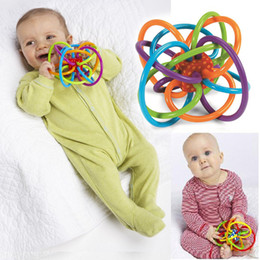 Wholesale Infant Hands - Color Baby Toy Ball Develop Kids Intelligence Toys Plastic Hand Bell Rattle Infant teeth glue fixed teeth grinding ball rattle toy