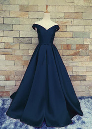 Wholesale Quality Formal Shirts - Custom Made Satin Evening Dress Dark Navy,Red,Light Blue Top Quality Long prom Dress Lace-up Zipper Back Sweep train Satin Formal Gowns
