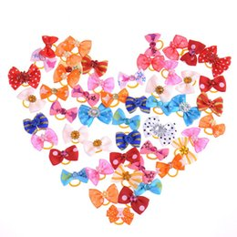 Wholesale Pet Hair Tie - 50pcs bag Pet Grooming Bow Tie Dog Cat Hair Accessories Grooming Hair Bows With Clips for Puppy Kitten Hair Tie Dog Accessories
