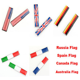 Wholesale Auto Canada - Car Auto 3D Sticker Russia US UK Italy France Canada Spain German Australia Flag Decoration Sticker Car Styling