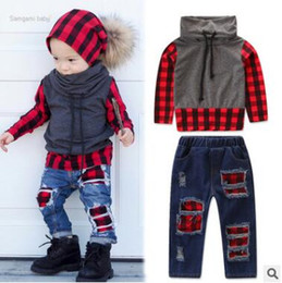 2019 jeans caidos Baby Boys Clothes Set Otoño Invierno Infant Toddler Baby Boy Warm Coat de manga larga High Neck Plaid Tops Ripped Jeans Pantalones Conjuntos Conjuntos jeans caidos baratos