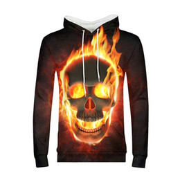dj skulls Promo Codes - 3D Fire Skulls Men Custom Hoodies Fashion Street Pullover  Sweatshirts New 9e88617b545e
