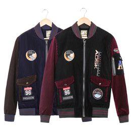 Wholesale Korean Men Winter Vest - Korean version of the corduroy fabric jacket jacket male students fall   winter men's baseball tide