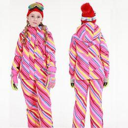 Wholesale Girls Snowboard Jacket - Wholesale- Winter Ski Jacket Snowboard Pants Girl Ski Suit Sets Warm Waterproof Snow Skiing Pants Outdoor Trousers Winproof Kids Ski Cloth