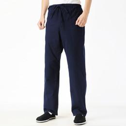 Wholesale Men Tai Chi Pants - Chinese Men's Navy Blue Loose Pants Vintage Style Kung Fu Tai Chi MaleTrousers Cotton Linen Elastic Waist Pant M-4XL