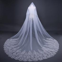 Filato coreano online-Velo extra lungo 2018 nuovo velo trailing coreano con paillettes intarsiato filo da sposa foto velo da sposa