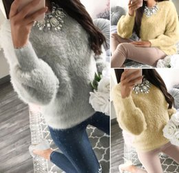 Wholesale Ladies Fur Sweater - New Womens Long Sleeve Crewneck Loose Knitted Sweater Ladies Casual Pullover Fur Tops