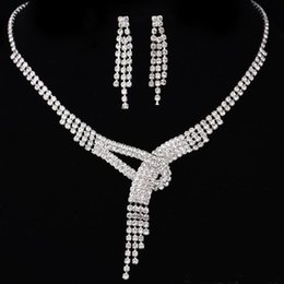 Wholesale Rhinestone Earrings Prom - Free Shipping Rhinestone Bridal Jewelry Sets Earrings Necklace Crystal Bridal Prom Party Pageant Girls Wedding Accessories