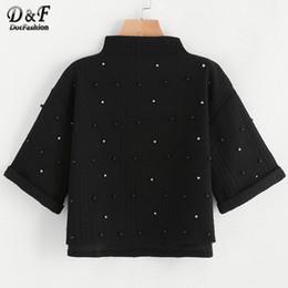 Wholesale Plain Turtleneck - Wholesale- Dotfashion Mock Neck Beading Embossed High Low Sweatshirt 2017 Black Half Sleeve Plain Pullovers Female Autumn Sweatshirt