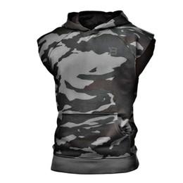 Tops de tanque de verão on-line-Homens de fitness Musculação Regatas Sem Mangas Hoodies Pocket Gyms Roupas Camisas de Algodão Singlet Verão Roupas de Moda de Treino Para O Homem