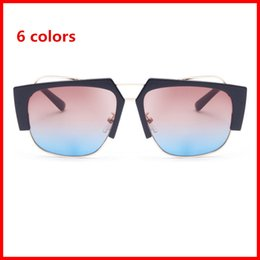Wholesale Occhiali Da Sole - Top quality men sunglasses 2018 design big square semi rimless sun glasses men luxury unisex UV occhiali da sole
