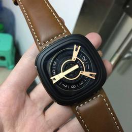 Relógios de quartzo quadrados militares on-line-Suíça Top Mens Relógio De Quartzo Homens Moda Famosa Marca de Couro Strap Casual Square Relógio de Pulso Militar Masculino Relógio Relojes Hombre