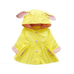 Wholesale rabbit coat for baby - 1 2 3 Year Baby Girls Coat 2018 New Spring Autumn Kids Jackets for Newborn Girls Floral Rabbit Ear Infant Childrens Outerwear