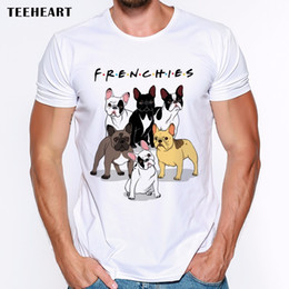 Wholesale T Shirt French Men - New Arrivals Fashion French Bulldog Printed T-Shirt Men's Dogs Animal T Shirt Summer High Quality Hipster Tee Tops