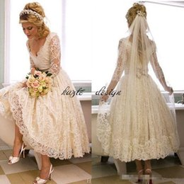 Wholesale Dresses For Reception - 1920s Tea-length Vintage Wedding Dresses with Sleeves 2018 Retro Full Lace V-neck Backless Garden Bridal reception dress for wedding