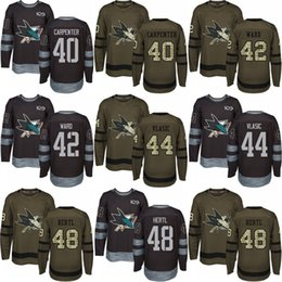 Wholesale 48 sharks jersey - 2018 men San Jose Sharks 40 Ryan Carpenter 42 Joel Ward 44 Marc Edouard 48 Tomas Hertl 1917-2017 100th Anniversary black Green Jersey