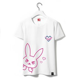 Wholesale Cute Women Clothes - Wholesale-Dva Women Short Sleeve T Shirt Female 100% Cotton Ladies White T Shirt D.va Girls Cute Unisex Cosplay Clothing Summer Shorts