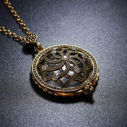 Mandala regalos online-Collar de lupa Flor de Mandala Hueco Collar Colgante Encanto Vintage Cadena de Cristal Mamá Abuela Regalo Gratis DHL D543S