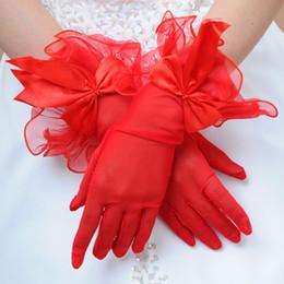 Corto negro rojo blanco fiesta de baile rendimiento conducción niña dama princesa mujeres guantes con bowknot envío gratis al por mayor desde fabricantes