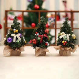 Wholesale Small Figurines - 1 Pcs Mini Christmas Trees Xmas Decorations A Small Pine Tree Placed In The Desktop Festival Home Party Ornaments