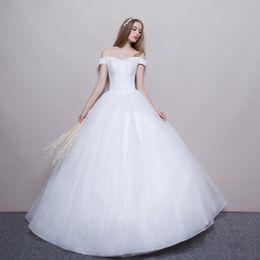 vestidos de bola de la boda de marfil Rebajas Vestido de fiesta fuera del hombro Vestidos de novia 2019 Vestidos de novia de marfil blanco Vestido de novia con cuentas nuevo y con cordones