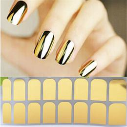 autocollant nail art stickers métalliques Promotion Nail Art Polonais Métallique Feuille D'or Autocollant Decal Patch Wraps Conseils Conseils Nail Complet Décoration