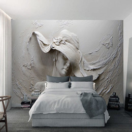Wholesale Rooms Painted Gray - Custom Wallpaper 3D Stereoscopic Embossed Gray Beauty Oil Painting Modern Abstract Art Wall Mural Living Room Bedroom Wallpaper