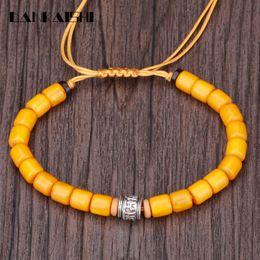 Pulsera de cera de abeja online-Dankaishi Beeswax Bracelet Six Word Mantra Charactert Strand Diseñador Meditación Budismo Pray String Buddhist Bracelet DKSFZ118