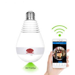 Kostenlose alarm app online-960P 360 Grad-drahtlose panoramische IP-Kamera-LED Birnen-Lampe Mini-WIFI CCTV-Warnung 3D VR-Kamera intelligente Hauptsicherheit geben APP-Alarm frei