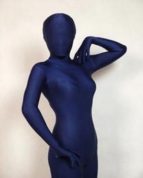 Traje de lycra azul oscuro online-Body de lycra de cuerpo completo azul oscuro / lycra traje de Zentai Leotardo trajes de tamaño adulto Disfraz