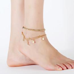 Estrela de yiwu on-line-New hipster rua batida strass tornozeleira Multi-camada feminina frisado estrela lua ouro fetter Yiwu pequena mercadoria por atacado