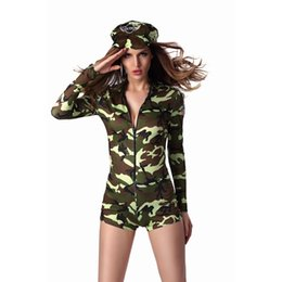 Canada M-XL Sexy Adulte Femmes Uniforme De L'armée Costume Halloween Sexy Party Costumes Soldat Femmes Camouflage Couleur Body cheap adult army costume Offre