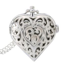 Reloj de cadena del corazón online-Collar de plata hueco de la joyería en forma de reloj de bolsillo collar de cadena colgante de cadena de reloj de cuarzo reloj de las mujeres regalo LL @ 17