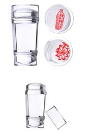 Heiße stempelplatte online-Heiße Gesundheit Schönheit Doppelkopf Klar Jelly Silikon Nagel Stamper Stamping Nail art Werkzeug für Nagel Stempelplatte