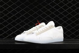 Wholesale Mens Hip Hop Shoes - OFF x Blazer Low Mens Casual shoes New cheap Arrival Athletic shoes white grey outdoor shoes for hip hop Str-Dance