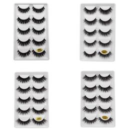 cílios postiços pretos Desconto 5 pares / set 3D Mink Falso EyeLashes Grosso Plástico Preto de Algodão Tira Cheia de Cílios Falsos Para Festa Make Up Tool Com Cosméticos