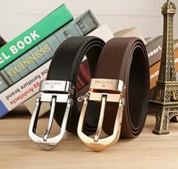95ac6d08ba La migliore vendita pin fibbia Classic vera pelle lettera cinture per uomo  casual cintura 3,8 centimetri di larghezza nero marrone Ceinture homme  sconti ...