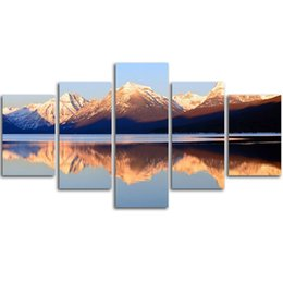 Wholesale Lake Picture Frame - MingTing - 5 Panel Canvas Wall Lakes and mountains Landspace Poster Painting Modern Home Decor For Living Room Aisle No Frame