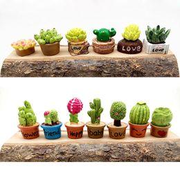 Wholesale Dollhouse Miniature Flowers - Small Succulent Flower Vase Set Miniature Fairy Garden Home Decoration Mini Craft Dollhouse Micro Decor Diy Gift Moving Forest