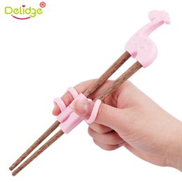 Wholesale Cartoon Train Box - Delidge 1 Pair Cute Baby Training Chopsticks Wooden Cartoon Children Learning Reusable Chopsticks With Box 3 Color Dropshipping