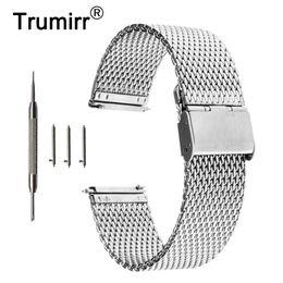Wholesale Mesh Bracelet 22mm - 16mm 18mm 20mm 22mm Universal Milanese Watchband Quick Release Watch Band Mesh Stainless Steel Strap Wrist Belt Bracelet Black