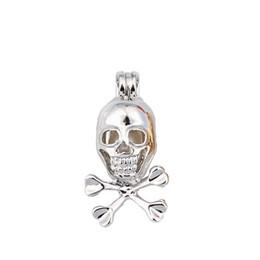 2019 pattini Argento cranio medaglione punk diffusore di olio essenziale pendente gabbie per perle - intercambiabile 6-8mm perline proprie per artigianato gioielli fai da te pattini economici