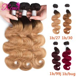 reine amour vierge cheveux Promotion Rcmei Malaysian Body Wave Extensions Ombre Deux Tons 1b-27/30 / 99j / Bourgogne