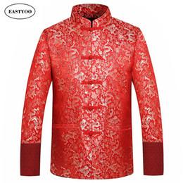 Costume de soie rouge en Ligne-Rouge Soie Veste Hommes Automne Hiver 2016 Dragon Cheongsam Tops Plus La Taille 4XL Traditionnel Chinois Vêtements Tang Costume Veste De Mariage