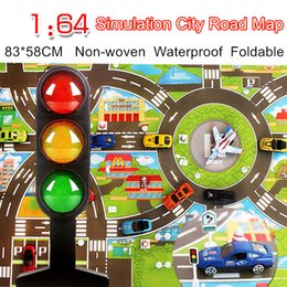 toy playmat Coupons - Waterproof 83*58CM Car Toy Playmat Simulation Toys City Road Map Parking Lot Playing Mat Portable Floor Games 2 maps w Guidepost