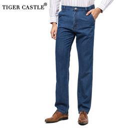 8f2ef603b6 Cintura alta Para Hombre 100% Algodón Verano Pantalones Vaqueros Finos  Diseñador de Alta Calidad Pantalones de Mezclilla Masculinos Baggy Men  Light Blue ...