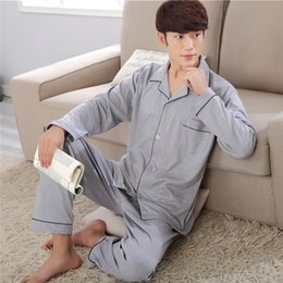 Wholesale Male Onesies - 2017 New Mens Pajamas Sleepwear Comfortable 100% Cotton Casual Pijamas Long Sleeve Male Spring Autumn Plus Size Sleepcoat & Pant
