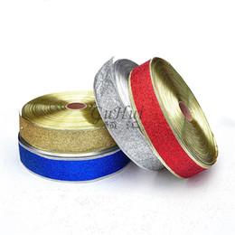 Deutschland 5 cm * 2 mt DIY Hohe Qualität Weihnachten Band Weihnachtsbaum Dekorationen Organza Gold Silber Glitter Band Geschenk Verpackung Wrap cheap gold gift ribbon Versorgung